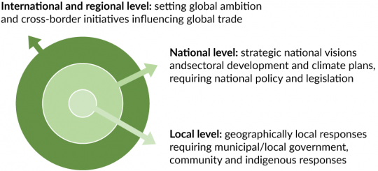 1. Local level: geographically local responses requiring municipal/local government, community and indigenous responses. 2. National level: strategic national visions and sectoral development and climate plans, requiring national policy and legislation. 3. International and regional level: setting global ambition and cross-border initiatives influencing global trade