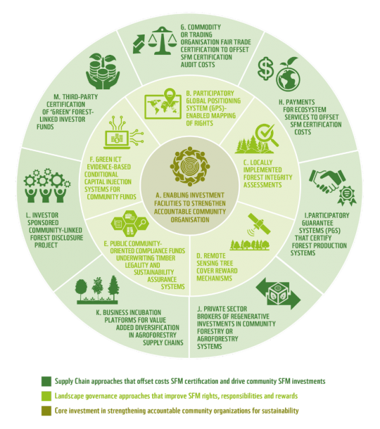A diagram showing 13 approaches that can support sustainable forest management