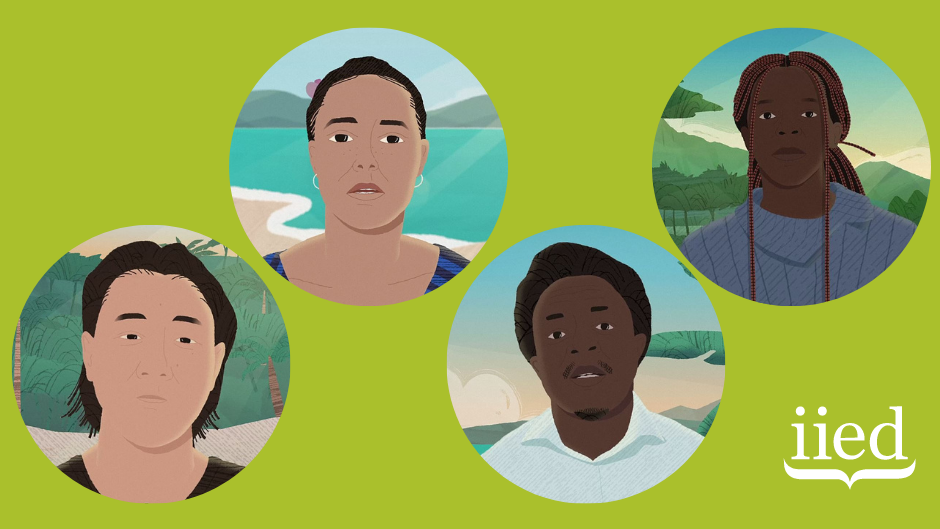 Cartoon head and shoulders of four people on a green background