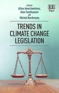 Cover of the Trends in Climate Change Legislation book, depicting a set of scales